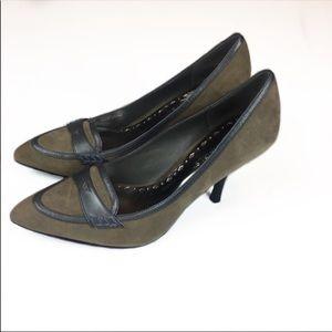 BCBG Heels Green Black Pointy Size 6.5